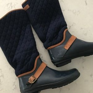Sperry Quilted Rain Boots Navy Size 8